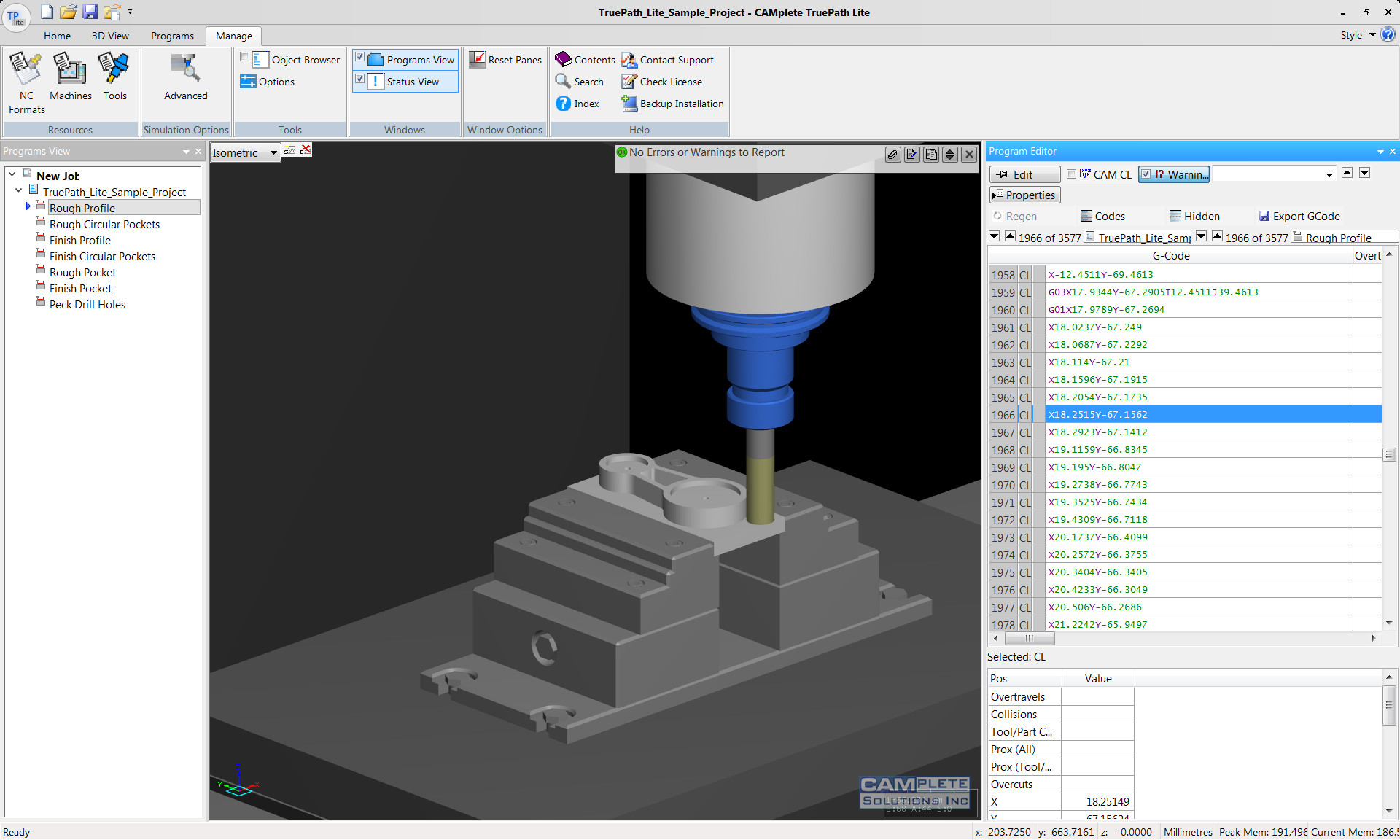 CAMplete TruePath Lite 3-Axis Simulation and Verification